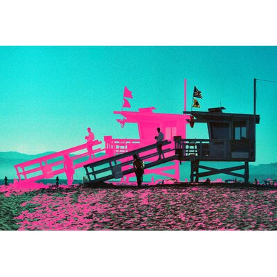 Fluorescent Palace Surf Psychadelic Graphic Art on Canvas