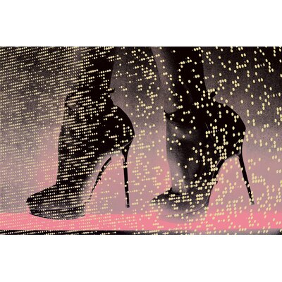 Fluorescent Palace Neon Catwalk Graphic Art on Canvas in Pink Pastal