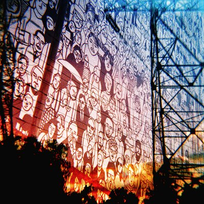 Fluorescent Palace People in The City Graphic Art on Canvas