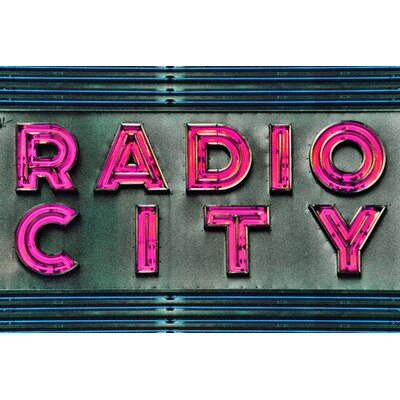Fluorescent Palace Radio Typography on Canvas in Pink