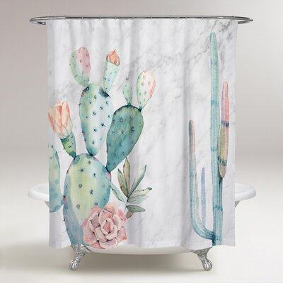 Rosen Marble and Succulents Shower Curtain