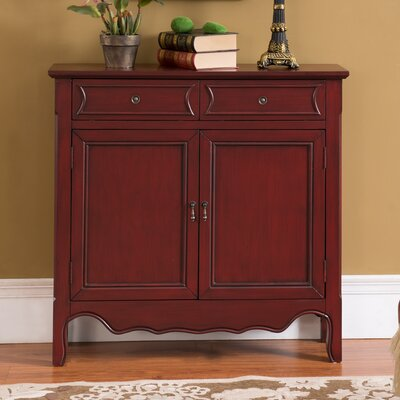 Mauzy 2 Drawer 2 Door Accent Cabinet Color: Antique Dark Red