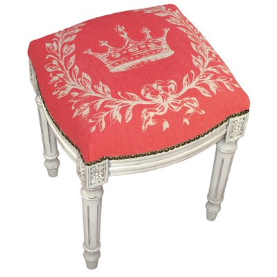 Clematite Coral Crown Linen Upholstered Vanity Stool Finish: Antique White, Color: Red