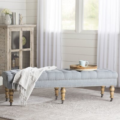 Ambrine Upholstered Bench Color: Washed Blue