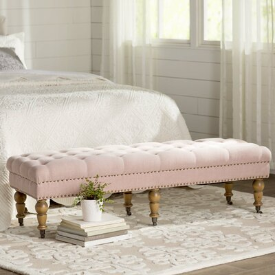 Ambrine Upholstered Bench Color: Washed Pink