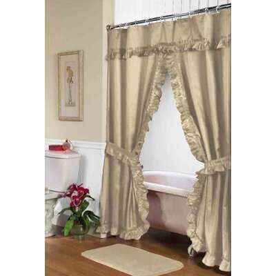 Biermann Double Swag Shower Curtain Color: Linen