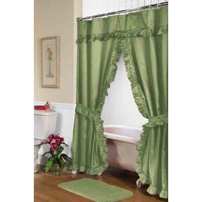 Biermann Double Swag Shower Curtain Color: Sage