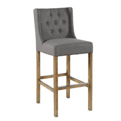 "Sixtine Bar & Counter Stool Upholstery: Gray, Seat Height: Bar Stool (30"" Seat Height)"