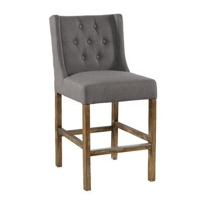 "Sixtine Bar & Counter Stool Upholstery: Gray, Seat Height: Counter Stool (24"" Seat Height)"