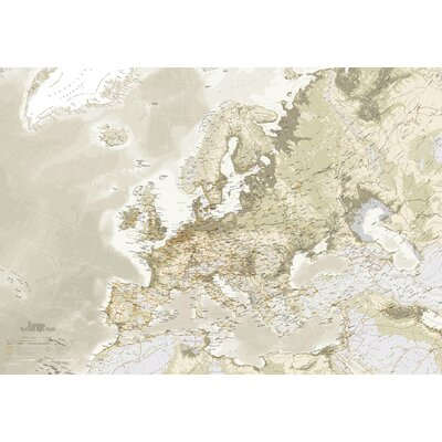 IncadoProductionA/S Euro Map Graphic Art on Canvas in Beige