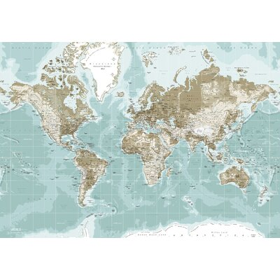 IncadoProductionA/S World Map Graphic Art on Canvas in Blue