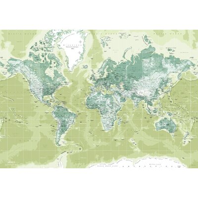 IncadoProductionA/S World Map Graphic Art on Canvas in Green