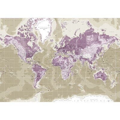 IncadoProductionA/S World Map Graphic Art on Canvas in Purple