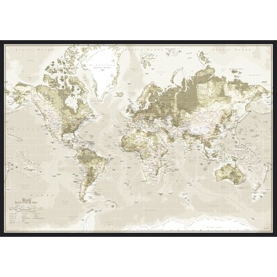 IncadoProductionA/S World Map Graphic Art on Canvas in Brown
