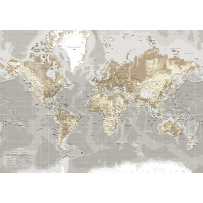 IncadoProductionA/S World Map Graphic Art on Canvas in Beige