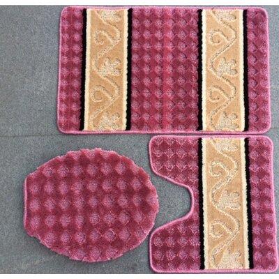 Fryar 3 Piece Bath Mat Set Color: Rose