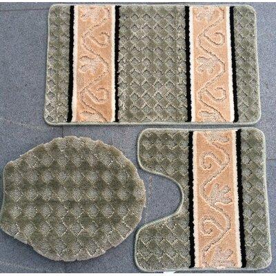 Fryar 3 Piece Bath Mat Set Color: Jade