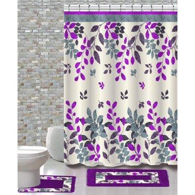 15 Piece Shower Curtain Set Color: Forest Purple