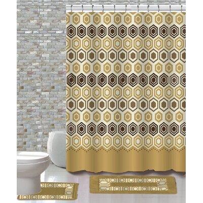 15 Piece Shower Curtain Set Color: Galaxy Beige