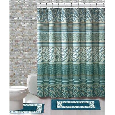 15 Piece Shower Curtain Set Color: Martha Aqua