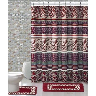 15 Piece Shower Curtain Set Color: Martha Burgundy