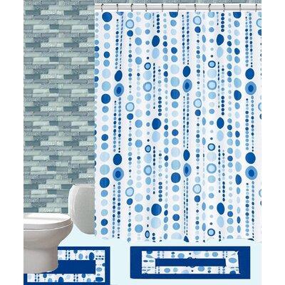 15 Piece Shower Curtain Set Color: Jackie Blue