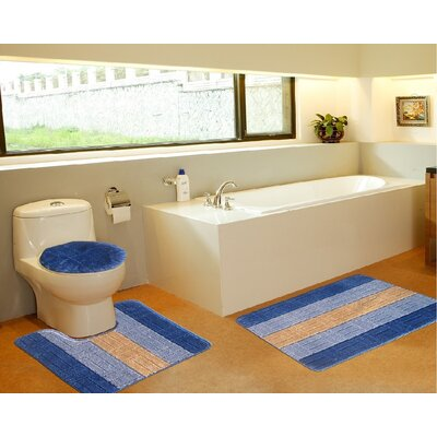3 Piece Bath Mat Set Color: Tiles Royal Blue