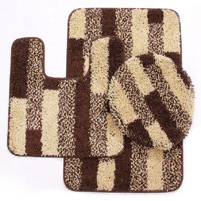 3 Piece Brick Bath Mat Set Color: Beige/Brown