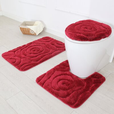 Prestige 3 Piece Bath Rug Set Color: Burgundy