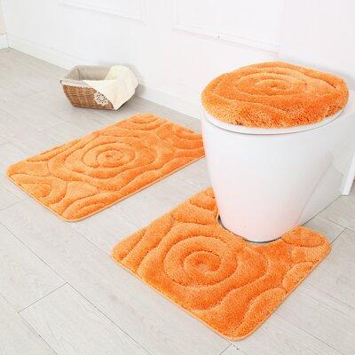 Prestige 3 Piece Bath Rug Set Color: Orange