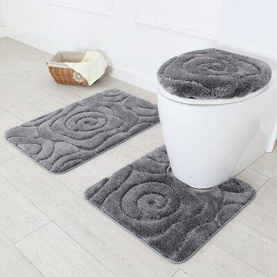 Prestige 3 Piece Bath Rug Set Color: Gray