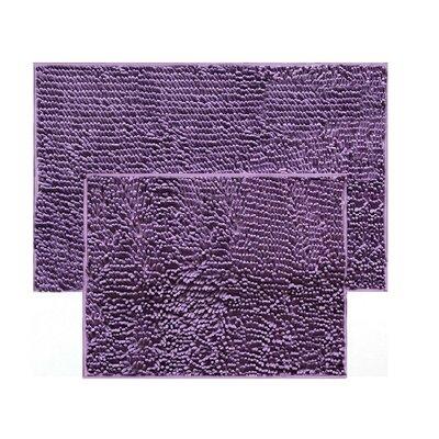 2 Piece Chenille Bath Rug Set Color: Purple
