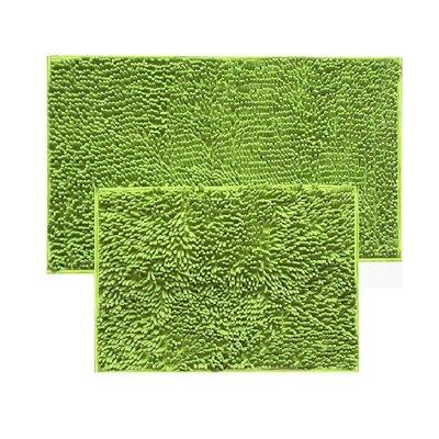 2 Piece Chenille Bath Rug Set Color: Lime Green