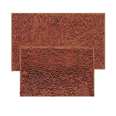 2 Piece Chenille Bath Rug Set Color: Brown