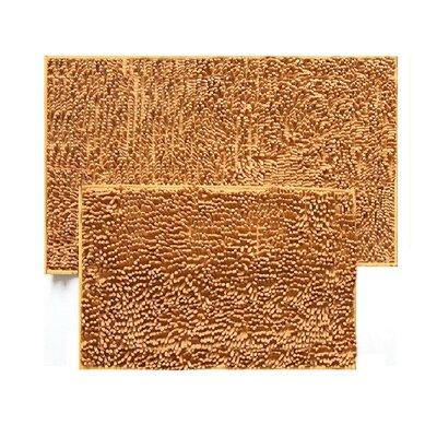 2 Piece Chenille Bath Rug Set Color: Gold