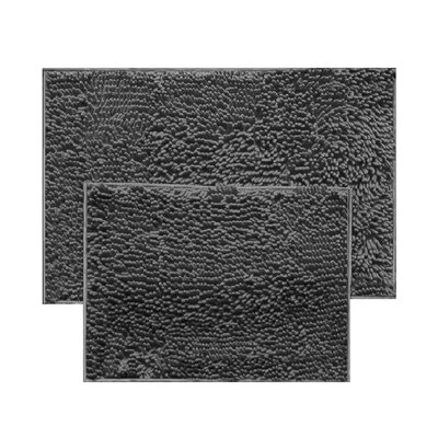 2 Piece Chenille Bath Rug Set Color: Gray