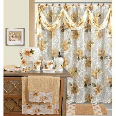 Kwan Decorative Shower Curtain Color: White/Gold