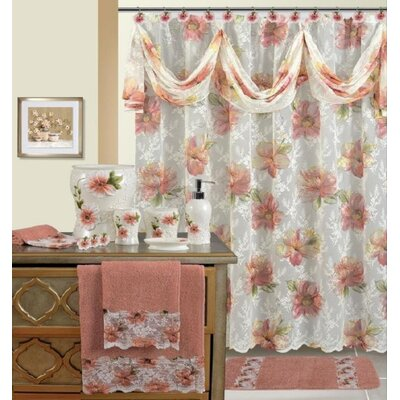 Kwan Decorative Shower Curtain Color: White/Rose