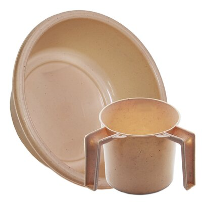 Round Wash Cup and Wash Basin Set Color: Beige Dotted