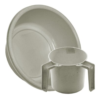 Round Wash Cup and Wash Basin Set Color: White Dotted
