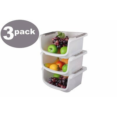 Plastic Stackable Basket Tray Open Bin Food Storage Container