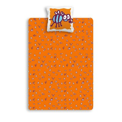 Sélène et Gaïa Manon All Over Orange 57 Thread Count 100% Cotton Fitted Sheet