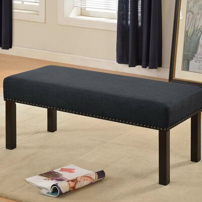 Fabric Wood Bench Upholstery Color: Dark Gray