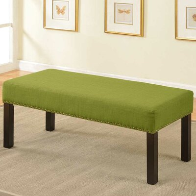 Fabric Wood Bench Upholstery Color: Green