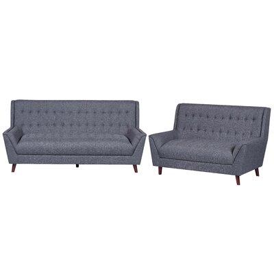 2 Piece Living Room Set Upholstery: Dark Gray