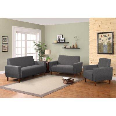 Mid 3 Piece Living Room Set Upholstery: Dark Gray