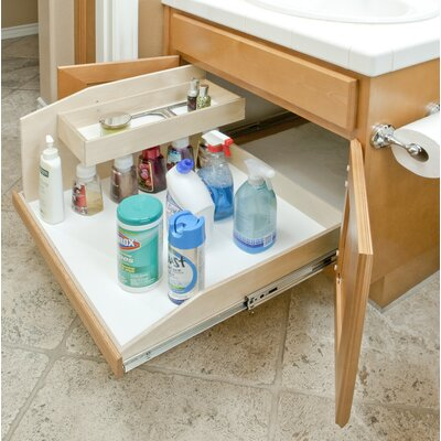 "Full Extension Baltic Birch Sink Caddy Slide-Out Shelf, 18"" wide by 22.5"" deep by 16"" high"