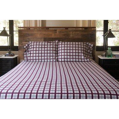 Bulma Tattersall Matte 300 Thread Count Sateen 100% Cotton Sheet Set Size: Queen