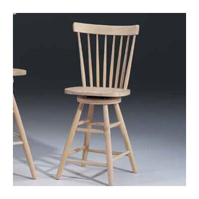 "International Concepts Unfinished Wood 24"" Swivel Bar Stool"