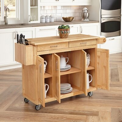 Kitchen Island with Wood Top and Drop Down Breakfast Bar